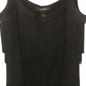 Black fringe flapper-esqe dress WHBM